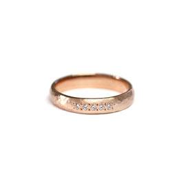 Jonc or rose 14k + diamants | Martelé + brossé