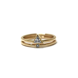 Duo or jaune 14k | Bague diamant triangle + mini solitaire