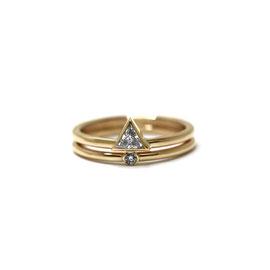 Duo or jaune 14k   Bague diamant triangle + mini solitaire