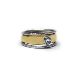 Jonc 2 tons | Or 14k + diamants