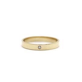 Jonc plat or jaune 14k + diamant