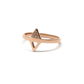 Bague triangle or rose 14k + pavé