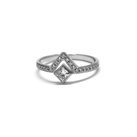 Bague triangle or blanc 14k + diamants