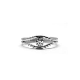 Duo or blanc 14k | Bagues courbées + diamant