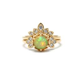 Duo or jaune 14k | Bague opale + bague feuilles