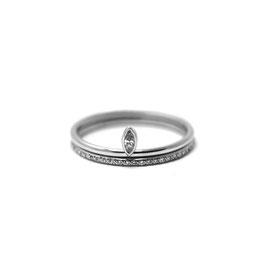 Duo or blanc 14k   Bague diamant marquise + jonc semi éternité