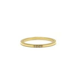 Jonc plat or jaune 14k + diamants