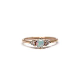 Bague or rose + opale + diamants