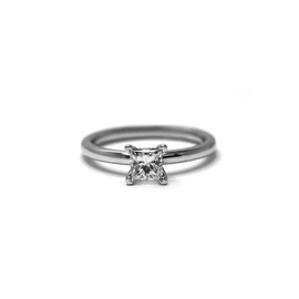 Solitaire diamant princesse | Or blanc 14k