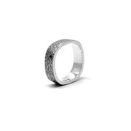 Jonc carré argent sterling + diamant noir