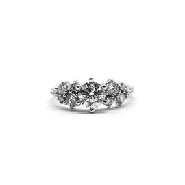 Bague cluster or blanc + diamants