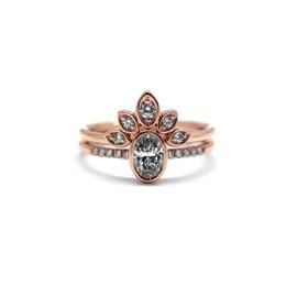 Duo or rose 14k | Bague diamant oval et pavé + Bagues feuilles
