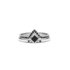 Duo or blanc 14k | Bague diamants noirs + Bague ouverte