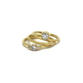 Trio de bagues or 18k + diamants
