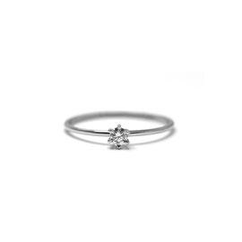 Mini solitaire 6 griffes   Or blanc 14k + diamant