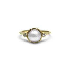 Bague perle mabé + diamants   Or jaune 14k