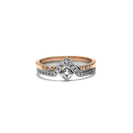 Duo or rose + blanc 14k | Bague triangle + jonc ouvert