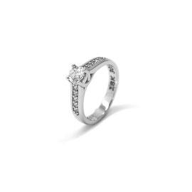 Solitaire or blanc 18k + pavé de diamants