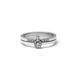 Duo or blanc 14k | Bague ouverte + bague diamants superposés