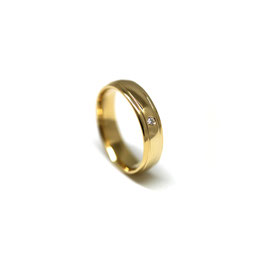 Jonc à rainures + diamant | Or jaune 14k