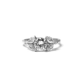 Solitaire or blanc 14k + diamants marquises