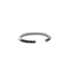 Jonc ouvert or blanc 14k + diamants noirs