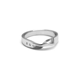 Bague twist   Or blanc 14k + diamants