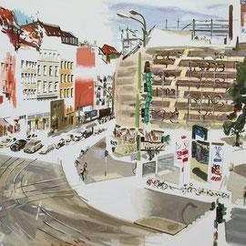 """Rosenthaler Platz (vom Balkon der Sprachschule """"parlando"""" aus gesehen) 3"""