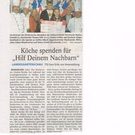"""Spende an die Aktion """"Hilf deinem Nachbarn"""" von der Kochaktion am Tag der deutschen Einheit auf der LGS"""
