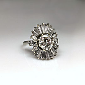 AN  126 - 14K white gold ballerina style ring with round, marquise, and baguette diamonds.