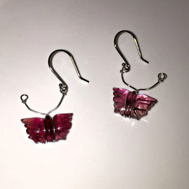 E 424 - 14K white gold earrings with carved watermelon tourmaline.