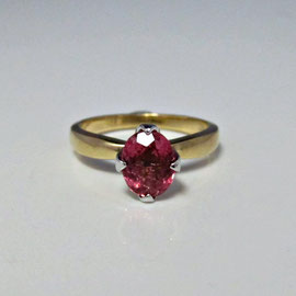 R 345 - 14K two tone ring with pink tourmaline in a tulip style setting.