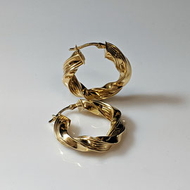 AN 103 - 14K yellow gold twist hoop earrings.