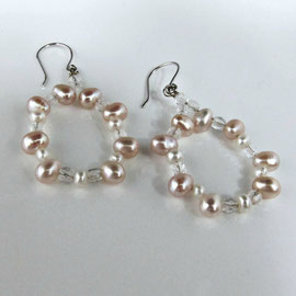 AN 20 - 14K earrings with pink and white pearls and quartz beads.