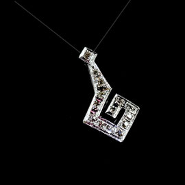 P 160 - 14K white pendant with .15 ct. tw. single cut diamonds.