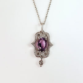 AN 68 - 14K white gold pendant with amethyst and melee diamond.
