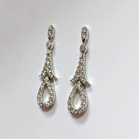 E 495 - 14K white gold earrings with fleur d'lis drop and pear shaped dangle  - .63 ct tw diamonds.