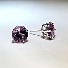 AN 89 - Sterling earrings with starburst amethyst.