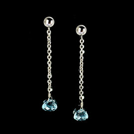 E 529 - 14K white gold dangle earrings with blue topaz briole beads.