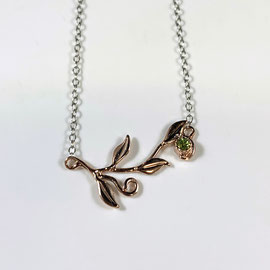 AN 140 - 14K rose gold flower pendant on sterling silver  cable chain, with peridot.