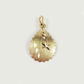 P 161 - 14K yellow gold scalloped edge bright cut pendant.