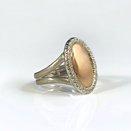 AN 145 - Sterling silver ring with rose gold center surrounded by diamonds - can be engraved.