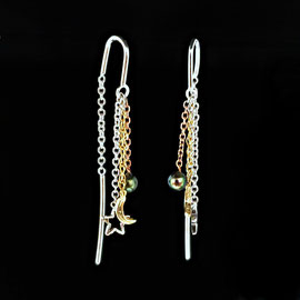 E 518 - 14K tri color threader style earrings with moon, star, pearl.