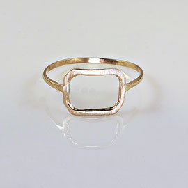 E 389 - 14K yellow gold ring with open design - satin finish on top.