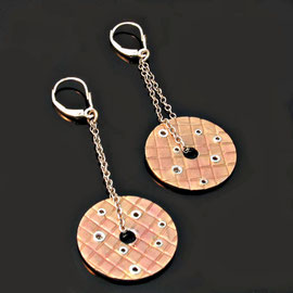 AN 19 - 14K rose gold earrings with bezel set diamonds, hanging from white gold findings.