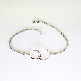 BR 39 - Sterling silver cable chain bracelet with 14K yellow and sterling hammered circles.
