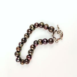 BP 150 - Chocolate pearl bracelet with sterling silver toggle clasp.