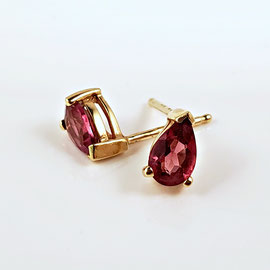 E 476 - 14K yellow gold earrings with pear shaped pink tourmalines.
