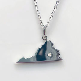 AN 139 - Sterling silver Virginia state pendant with diamond.  Other stones and placement available.