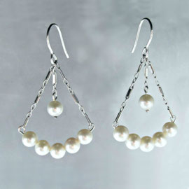 AN 14 -  14K white gold and pearls deco inspired dangle earrings.